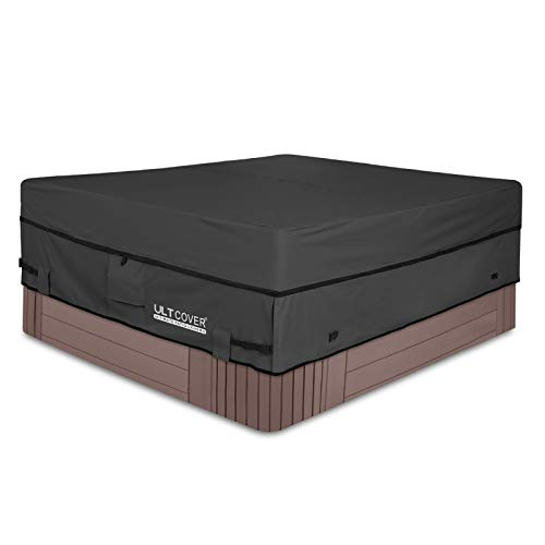 ULTCOVER Waterproof 600D Polyester Square Hot Tub Cover Outdoor SPA Covers 90 x 90 inch, Black