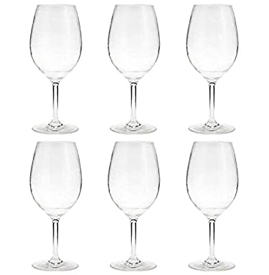 21-ounce Unbreakable Acrylic Wine Glasses Plastic Stem Wine Glasses, set of 6 - All Purpose, Red or White Wine Glass, Dishwasher Safe, BPA Free