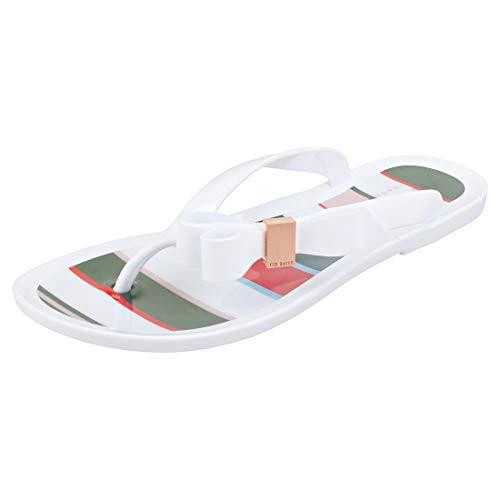 Ted Baker Suzzip Bow Detail Damen Sandalen Flip Flops White Multicolour - 39 EU