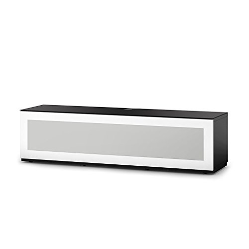 SONOROUS Studio ST-160B I/R Friendly Wood and Glass TV Stand with Hidden Wheels for Sizes up to 75' (Modern Design with 6 Shelves for Your Audio/Video Components and Consoles) - White Glass Cover