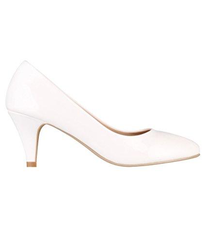 5790-WHT-4, KRISP Zapatos Tacón Salón Elegantes