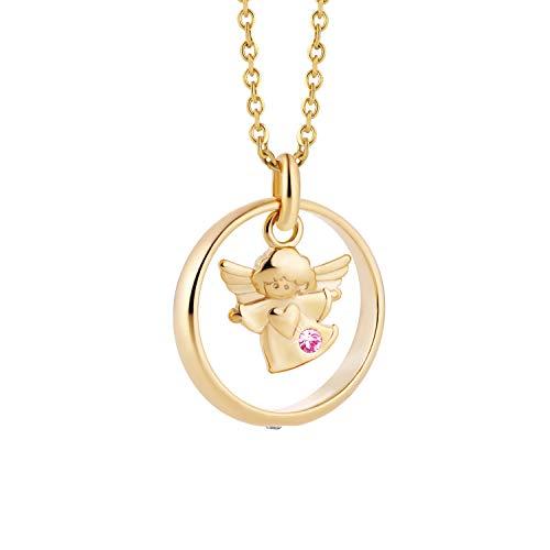 fish Mädchen 333er Goldkette Gold 333 Schutzengel-Anhänger Taufring Taufgeschenk Rosa Längen-verstellbar Schmucketui Baby Geschenk