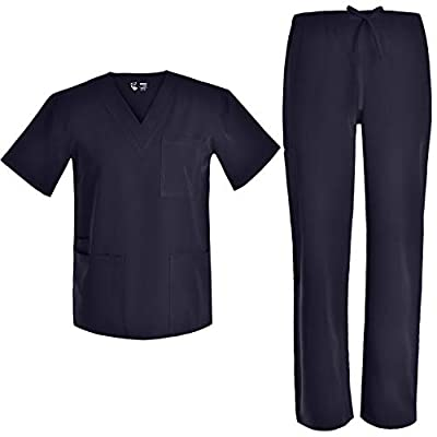 Men V Neck Nursing Stretch Scrubs - Medical Uniforms Scrubs Set for Men Stretch Plus Size Nursing Set JY9301 (Black, M)