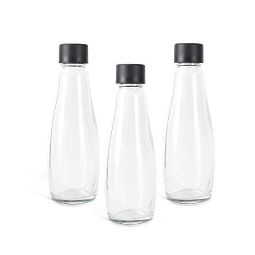 Levivo Glasflaschen für den Levivo Wassersprudler WATER, als Ersatz oder Ergänzung, 0,6 l Volumen, als Glaskaraffe nutzbar, umweltfreundlicher und langlebiger als PET-Flaschen, 3 Flaschen