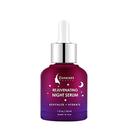 ZONE - 365 Night Serum for All Skin Types; Reverse Aging While you Sleep; with vitamin E, Hyaluronic Acid, Witch Hazel; 1 fl oz