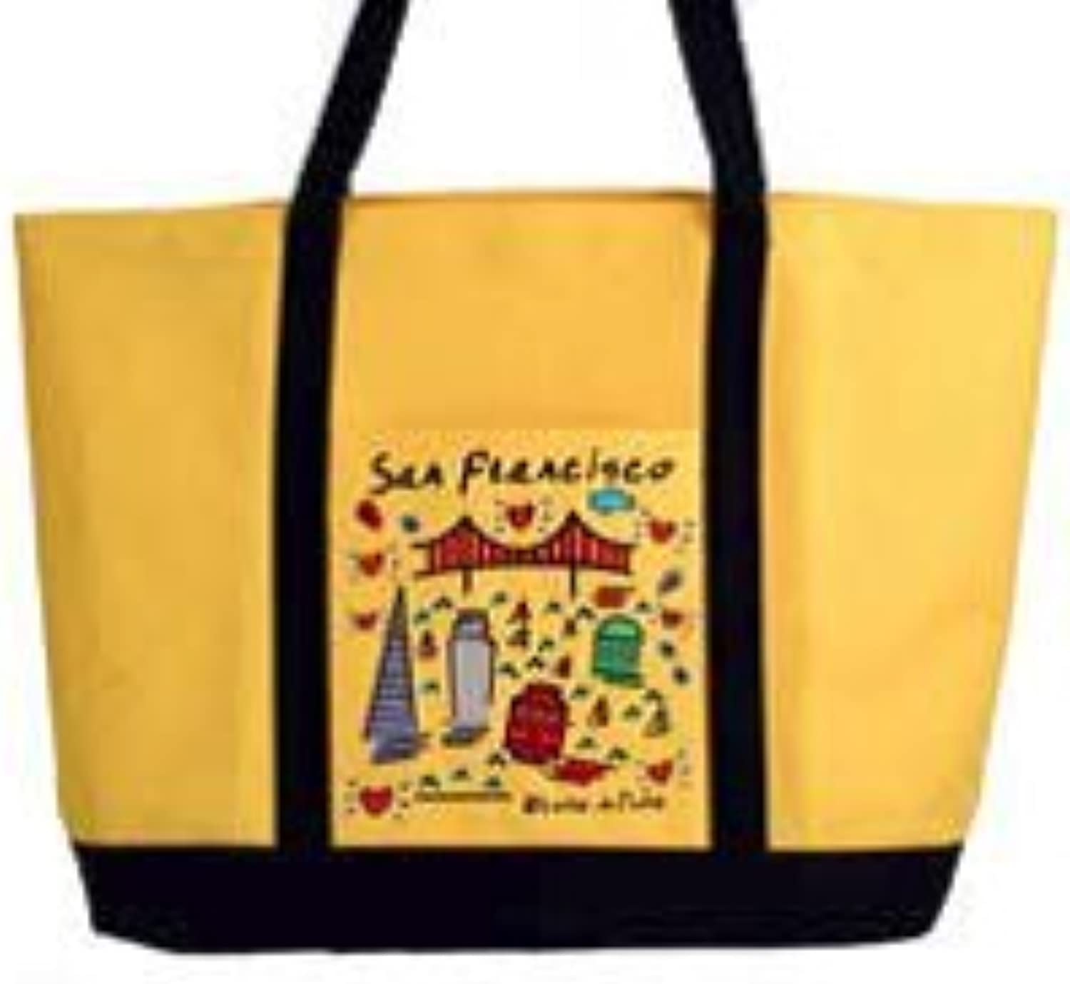 San Francisco Tote Lrg Bag Embroidered Subway Images Yellow Large