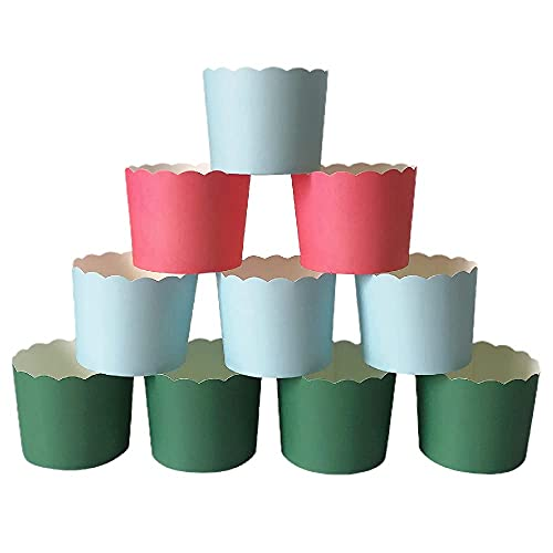 Paper Baking Cups 90-Pack Large 6 Oz Greaseproof Baking Cups Cupcake Muffin Cases Disposable Cupcake Wrappers For Birthday Baby Shower Wedding And Party-Pure Blue Pink And Green Color