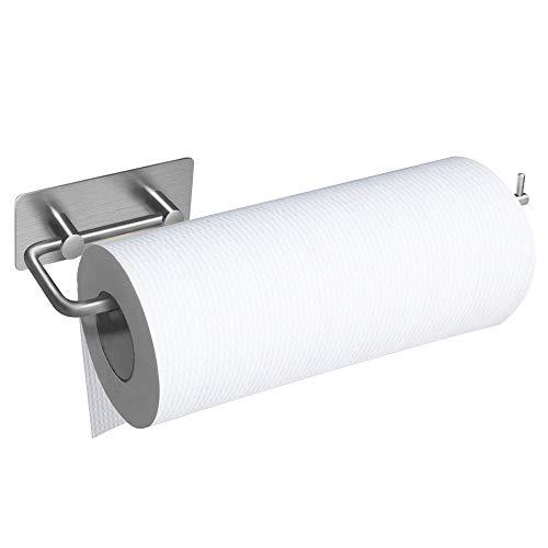 BangShou Küchenrollenhalter Ohne Bohren Küchenrollenspender Edelstahl Matt Küchenpapierhalter Papierrollenhalter Handtuchhalter (S)