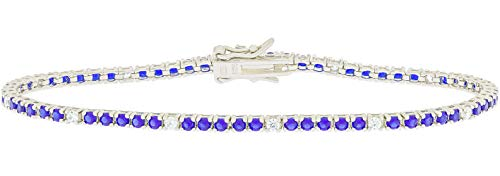 Unisex Bracelet in Silver 925 and Cubic Zirconia - Miyu Bijoux Jewellery Collection Silver color White and Blue