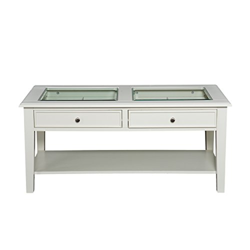 Panorama Cocktail Table - Open Display Glass Top w/ Store - Off White Finish