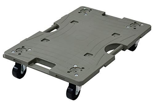 山善 スマート連結平台車 60×40cm キャリーカート 運搬台車 樹脂平台車 樹脂製平台車 オリーブ NTRL-N65OD