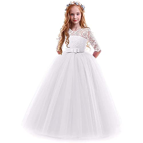 Girls Lace Stitching Dress Embroidery Princess Dress Wedding Birthday Party Long Tail Prom Gowns for 2-14 Years White