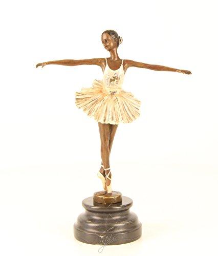 Bronze Ballerin Tänzerin mehrfarbig Jugendstil Gründerzeit Repro Skulptur Statue Bronzefigur Figur