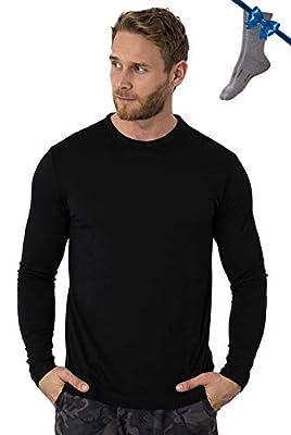 Merino.tech 100% Organic Merino Wool Lightweight Men's Base Layer Long Sleeve Thermal T-Shirt + Wool Hiking Socks (Large, Obsidian Black)