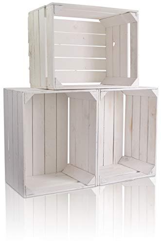 CHICCIE 3 Set Holzkiste im weißen Vintage Look - 50x40x30cm Weiß - Obstkiste Weinkiste
