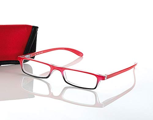 Kindler LOOK AND SEE leesbril +1,0 voor dames & heren rood flexbeugel leeshulp etui
