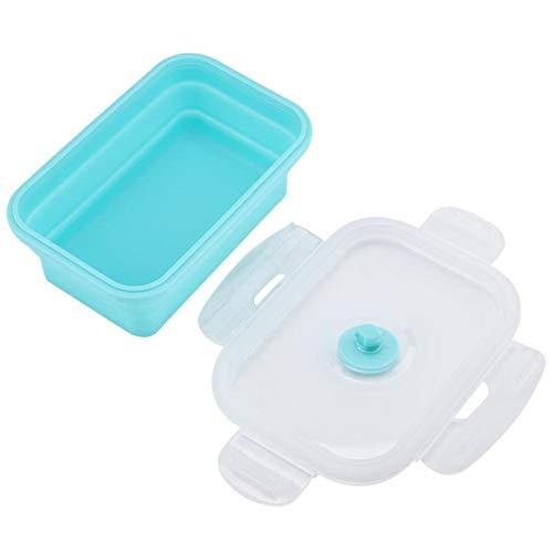 BOLORAMO Frasco de Comida Plegable de 4 tamaños, Fiambrera, hornos de microondas de Silicona, lavavajillas Aptos para microondas, para Comidas para Llevar(Menta Verde, 1200ml)