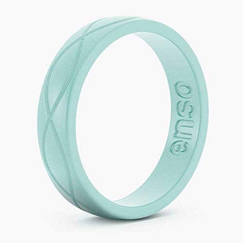 Enso Rings Women's Infinity Silicone Wedding Ring – Hypoallergenic Wedding Band for Ladies – Comfortable Band for Active Lifestyle – 4.5mm Wide, 1.5mm Thick, Turquoise Blue 6