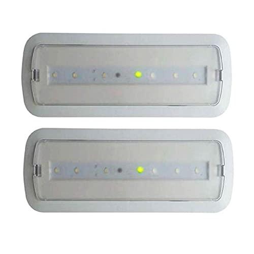 Pack 2 unidades de Luces de Emergencia Led de 3W permanente/no permanente con AUTOTEST. Luz Fría 6000. Led SMD 5730 de alto rendimiento. Instalación en superficie y empotrable. Resistente al fuego