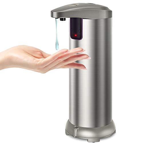 KaKille Dispensador Automático de Jabón con Acero Inoxidable,Sensor de Movimiento por Infrarrojos Base Impermeable Interruptor Ajustable,Baño Apropiado,Cocinas,Hotel,Restaurante