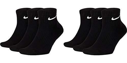Nike 6 paia di calzini corti da uomo e da donna, colore bianco, nero, set risparmio SX7667 Everyday Cotton Cushioned Ankle calze sportive, taglia 34, 36, 38, 40, 42, 44, 46, 48, 50, colore: nero