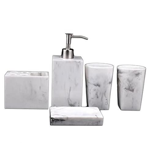 NIDONE Juego de accesorios de baño multifuncionales de resina dispensador de jabón de cepillo de dientes titular decoración de baño blanco 5