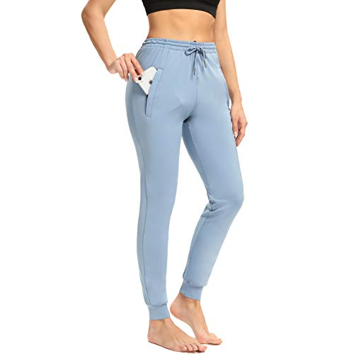 Starlemon Women#039s Joggers Pants with Zipper Pockets Tapered Running Sweatpants for Women Yoga Lounge Jogging Pant Large Blue