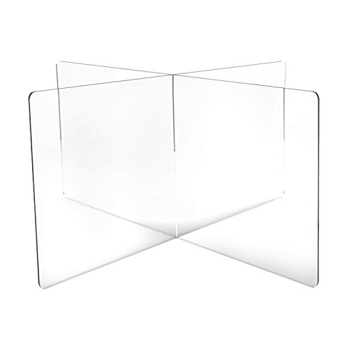 DeskDefender Plexiglass Sneeze Guard | 5mm Thick Acrylic | 4-Person Divider Shield for Shared Tables | Simple Interlocking Assembly | Perfect for Lunch & Cafeteria Tables