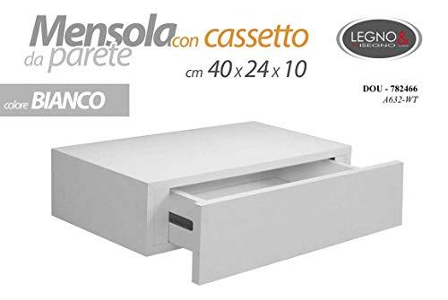 GICOS IMPORT EXPORT SRL Mensola da Parete con cassetto libreria pensile scaffale in Legno da Muro Colore Bianco 40 * 24 * 10 cm DOU-782466