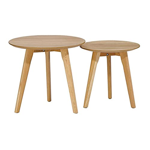 N\C Table Solid Wood Side Table, Combined high and Low Sofa Side Table, Oak Legs, Assembly and Installation, 2-Piece Set for Living Room Bedroom