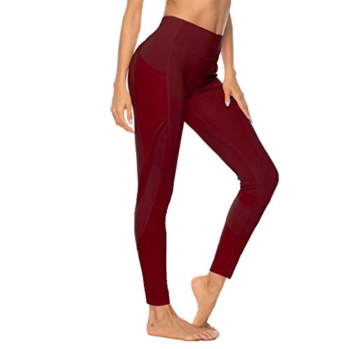 Linkay Damen Sport Hosen Leggins mit Taschen,Blickdicht Sporthose Yogahose Streetwear Yoga Lange Leggings Slim Fit Fitnesshose Sporthosen (Wein,Small)