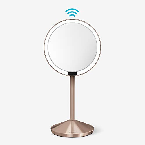 "simplehuman 5"" Round Mini Travel Sensor Makeup Mirror, 10x Magnification, Rechargeable, Rose Gold Stainless Steel"