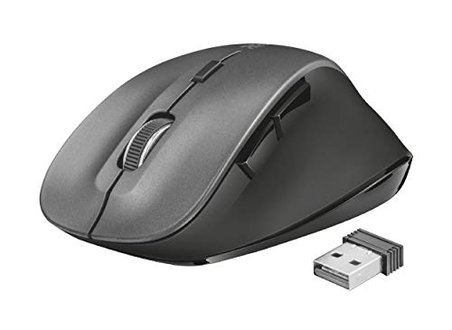 Trust Ravan Mouse Wireless a 6 Pulsanti, con Poggiapollice Ergonomico, Nero