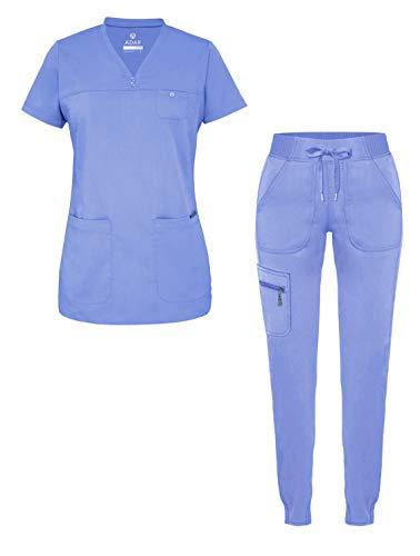 Adar Pro Movement Booster Scrub Set for Women - Sweetheart V-Neck Scrub Top & Yoga Jogger Scrub Pants - P9400 - Ceil Blue - XL