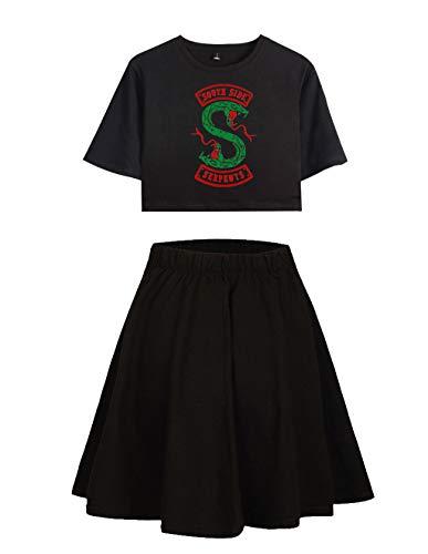 Riverdale Rock und T-Shirt Set Damen, Teenager Mädchen Southside Serpents Sommer Zweiteiler Crop Top Rock Zweiteiliger Anzug Frauen Bauchfrei Oberteile Sport Kurze Tank Tops Kurzarm Bluse (A-b-b,XS)