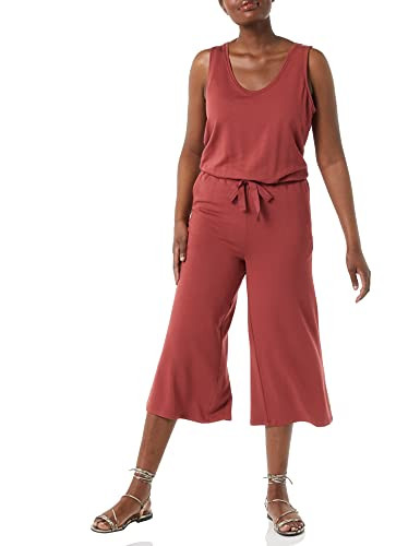 Daily Ritual Supersoft Terry Relaxed-Fit Sleeveless Wide-Leg Jumpsuit Hose, Ziegel, M