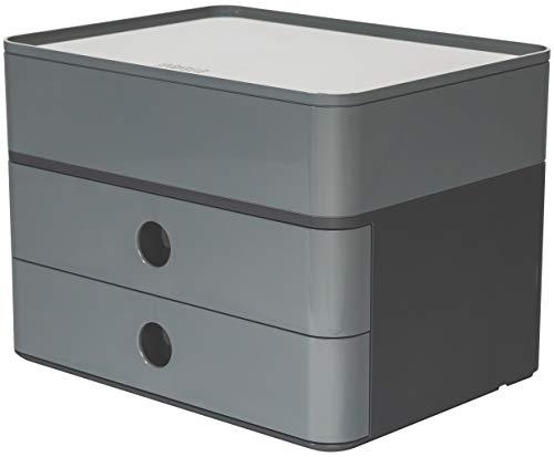 HAN 1100-19, SMART-BOX PLUS ALLISON, Design Schubladenbox mit 2 Schubladen und Utensilienbox, granite grey
