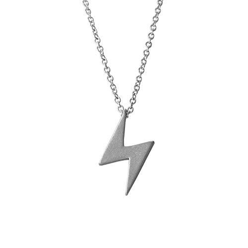 Collar de acero de titanio personalizado con colgante de relámpago para hombres y mujeres, estilo retro salvaje, collar de moda europea y americana accesorios