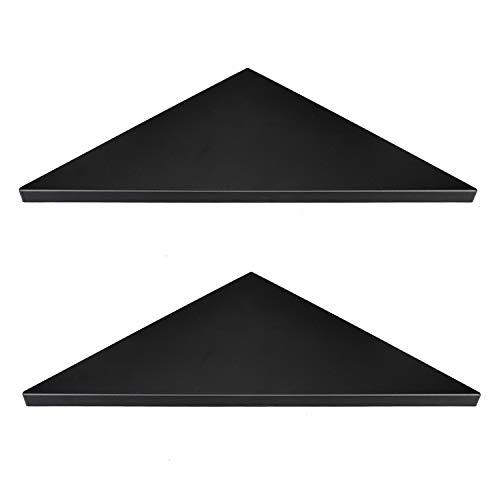 Evron Corner Mounting Shelf,Easy to Install Wall Corner Shelf,Set of 2 (Black Frosting Pattern Right-Angled)