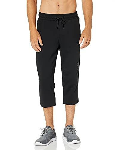 Amazon Brand - Peak Velocity Men's Metro Fleece Athletic-Fit Capri Pant, black, Medium