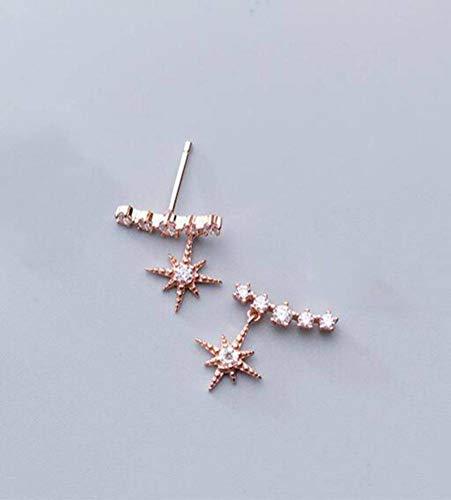 WOZUIMEI S925 Pendientes de Plata para Mujer Pendientes Cortos de Diamantes de Moda Coreana Temperamento Fila Pendientes de Diamantes para Mujeroro rosa
