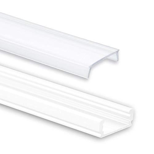 Aluminium Profil 2 Meter - Aluprofil für LED Stripes/Streifen Abmessung: 2000mm x 17mm x 7mm ALU Leiste (Alu Profil weiss inkl. milchiger Abdeckung für LED Streifen)