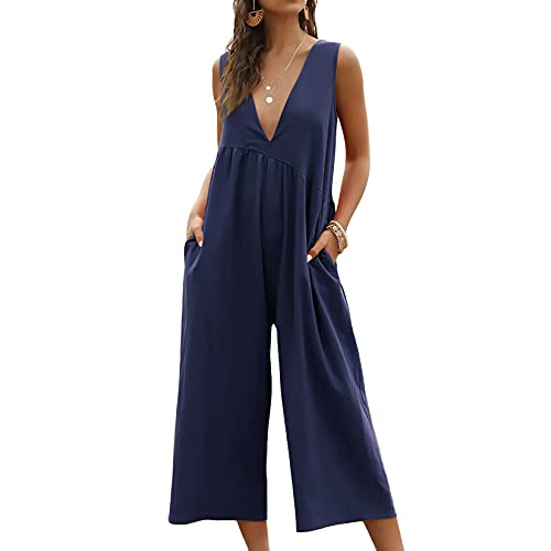 Lu's Chic Women's Jumpsuit Dressy Romper V Neck Jumpers Sleeveless Jump Suits Summer Casual Capri Palazzo Wide Leg Ladies Cotton Plain Flowy Tank Cropped Pants Pleated with Pockets Navy Small