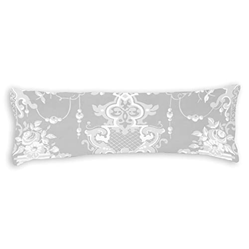 Promini Funda de almohada elegante estilo vintage rococó, color gris y blanco, funda de almohada con cierre de cremallera oculta, para sofá, banco, cama, decoración del hogar, 50,8 x 137,2 cm
