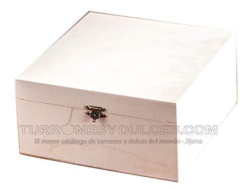 Turrones Fabian Box mit mittelgroßem Deckel – Naturholz aus Chopo – 20 cm x 20 cm x 10 m – Scharniere und Verschluss vergoldet
