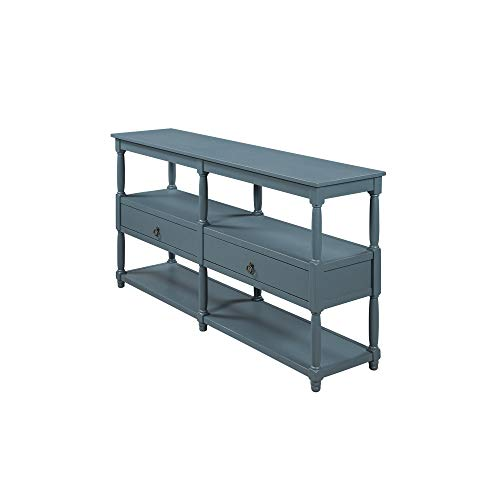 Festnight Rustic Console Table Sofa Table with 3-Tier Open Storage Shelf and Two Drawers for Living Room, Hallway, Dining Room (Navy Blue)