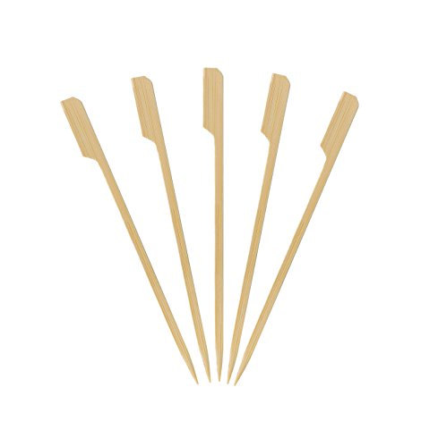 KingSeal Natural Bamboo Wood Paddle Picks, Skewers - 6 Inches, 2 Packs of 100 per Pack, for Appetizers and Cocktails