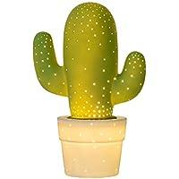 Lucide Cactus–Lámpara de mesa–Diámetro 20cm–Color Blanco, cerámica, verde, E14 40 wattsW 230 voltsV