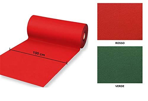 Passatoia Rossa Natalizia Tappeto Rosso Flessibile e Resistente in Feltro Larghezza 100 cm Lunghezza 500 cm