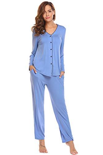 Schlafanzug Damen Lang Pyjama Atmungsaktiv Nachtwäsche mit Knopfleiste Atmungsaktiv Sleepwear Set inkl. Hose Bluse